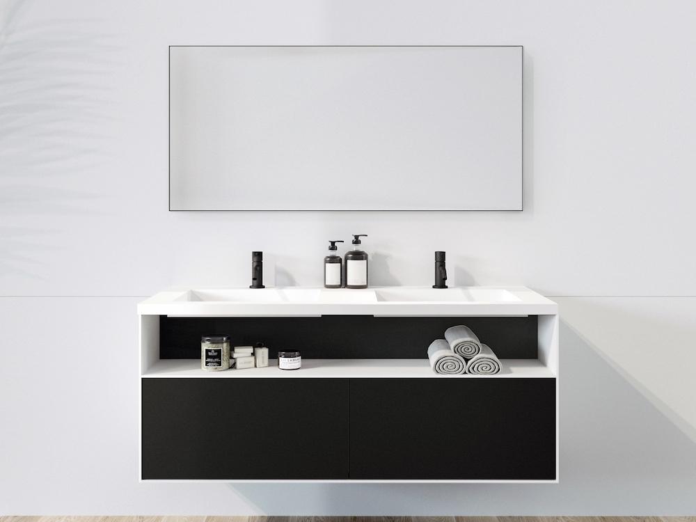 Badkamertrend! Badkamer in zwart wit via Sanidrome. Badkamermeubel #sanidrome #badkamer #badkamertrend #badkameridee #badkamerinspiratie #zwartwit #badkamermeubel