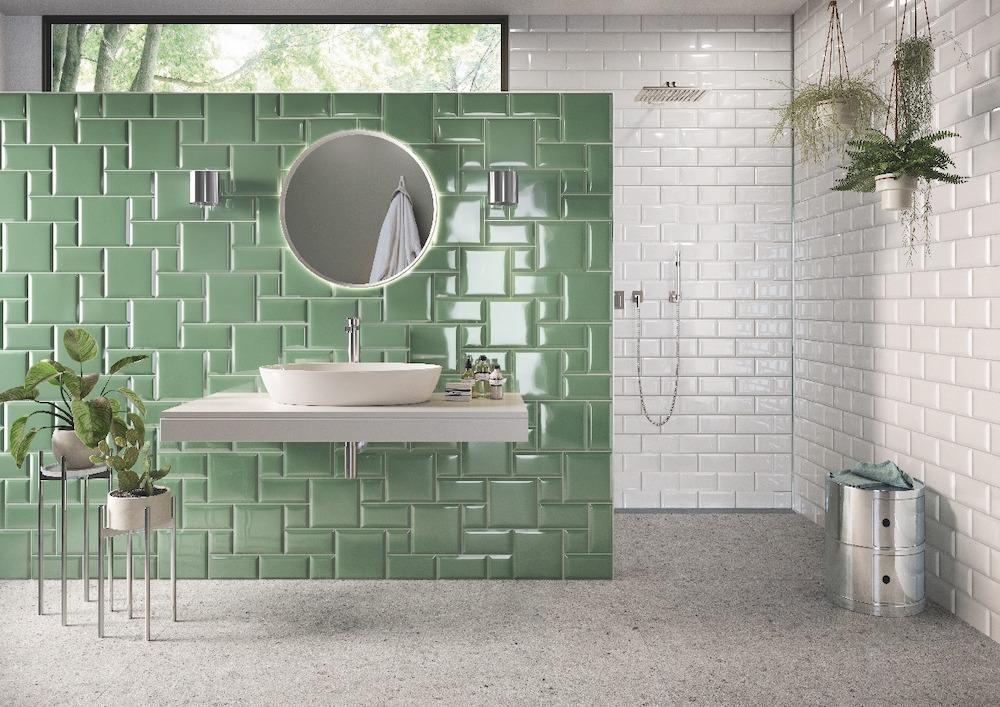 Sanidrôme badkamerinspiratie: geef je badkamer kleur #badkamer #badkamerinspiratie #sanidrome #kleur #colourexplotion #groen #metrotegels