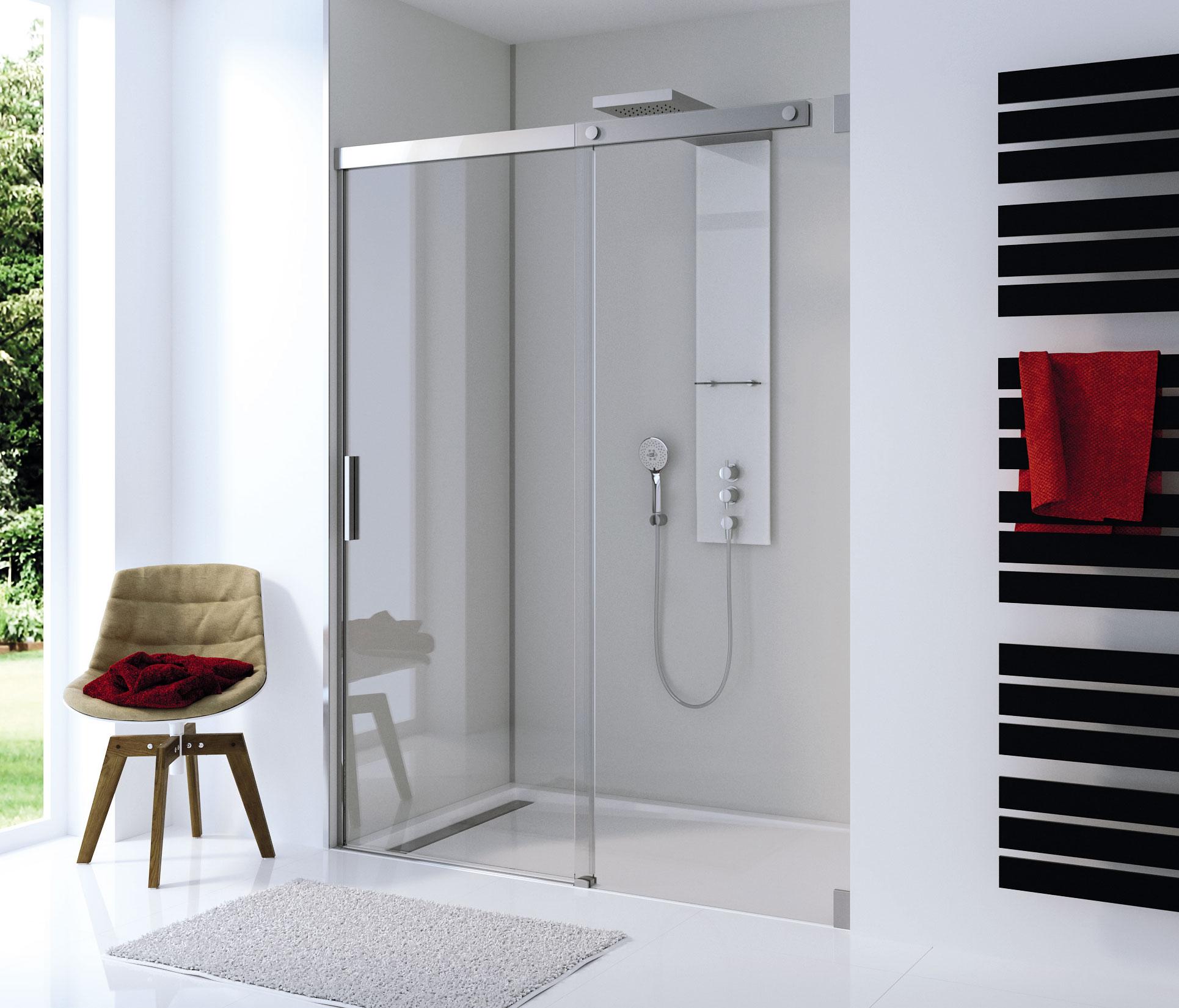 Douchewand van HSK van edelglas voor extra comfort in de badkamer. Via Sanidrome