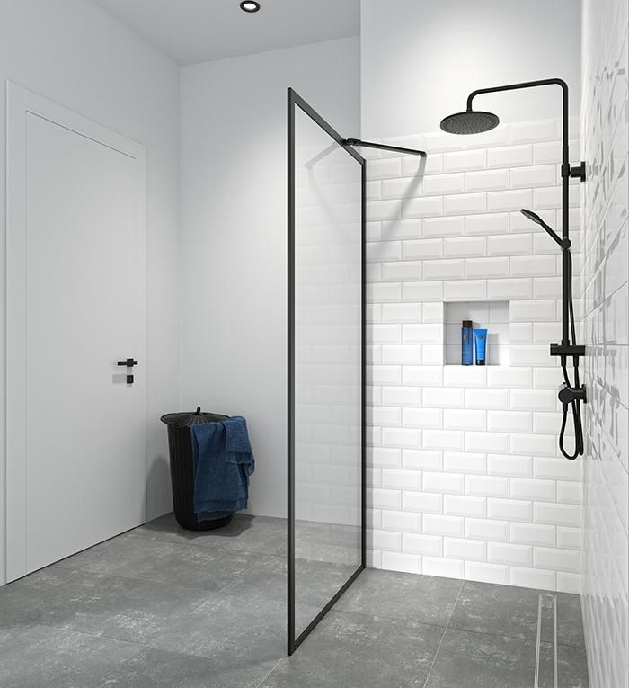 Douchewand met zwart profiel. Inloopdouche Contour van Sealskin #douchewand #douche #minimalistisch #badkamer #badkamerontwerp #industrieel #sealskin