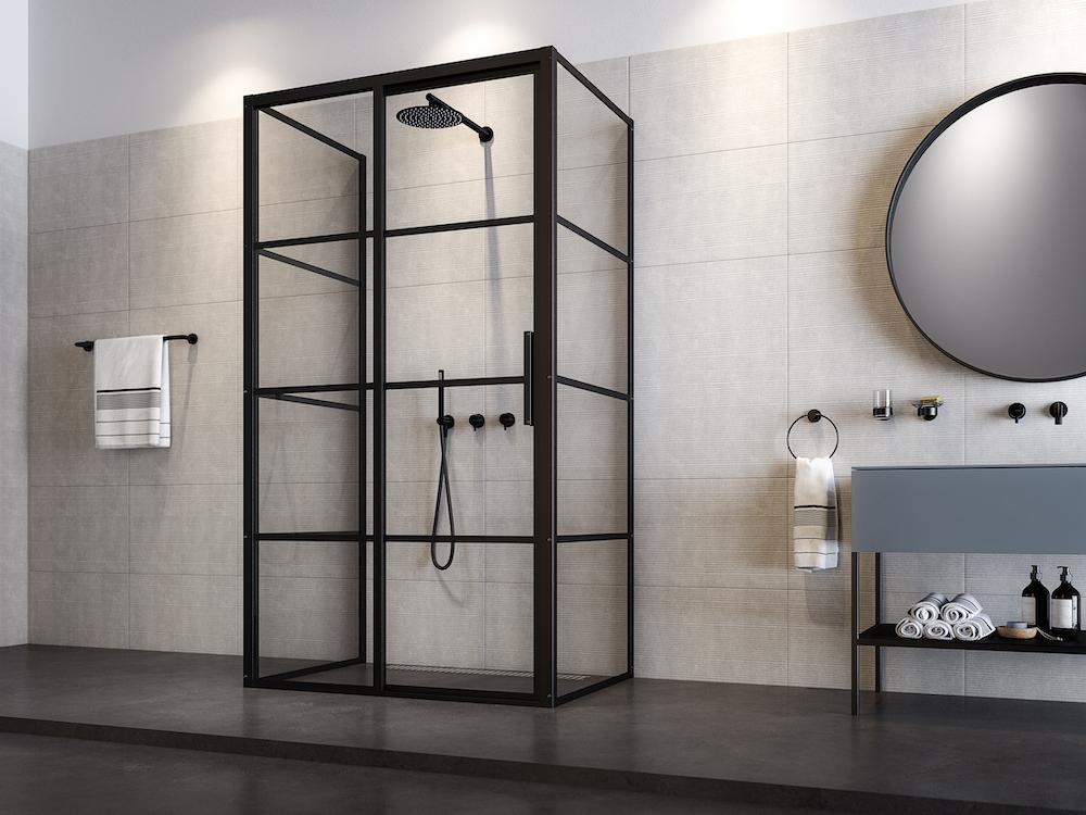 Industriële badkamer met douchewanden en schuifdeuren Soho van Sealskin #sealskin #badkamer #douche #douchewanden #douchedeuren #industrieel #industrialstyle