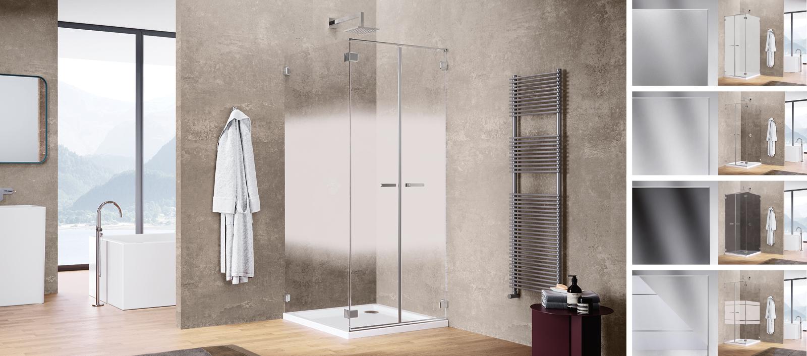 Sealskin douchewand gallery 3000 voor elke badkamerstijl. Verschillende kleuren glas #douchewand #douche #sealskin #badkamers