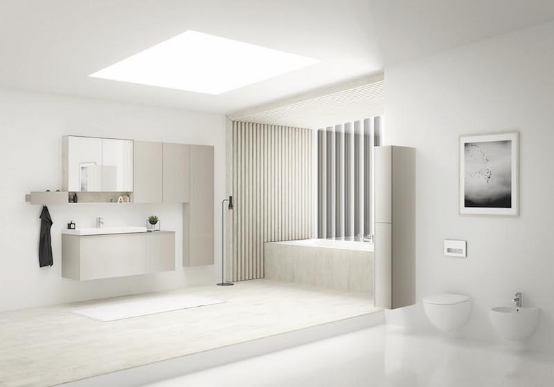 Nieuwe serie badkamermeubelen, keramiek en toiletten van Sphinx. Flexibel te combineren tot droombadkamer #Acanto #Sphinx #badkamer #meubelen