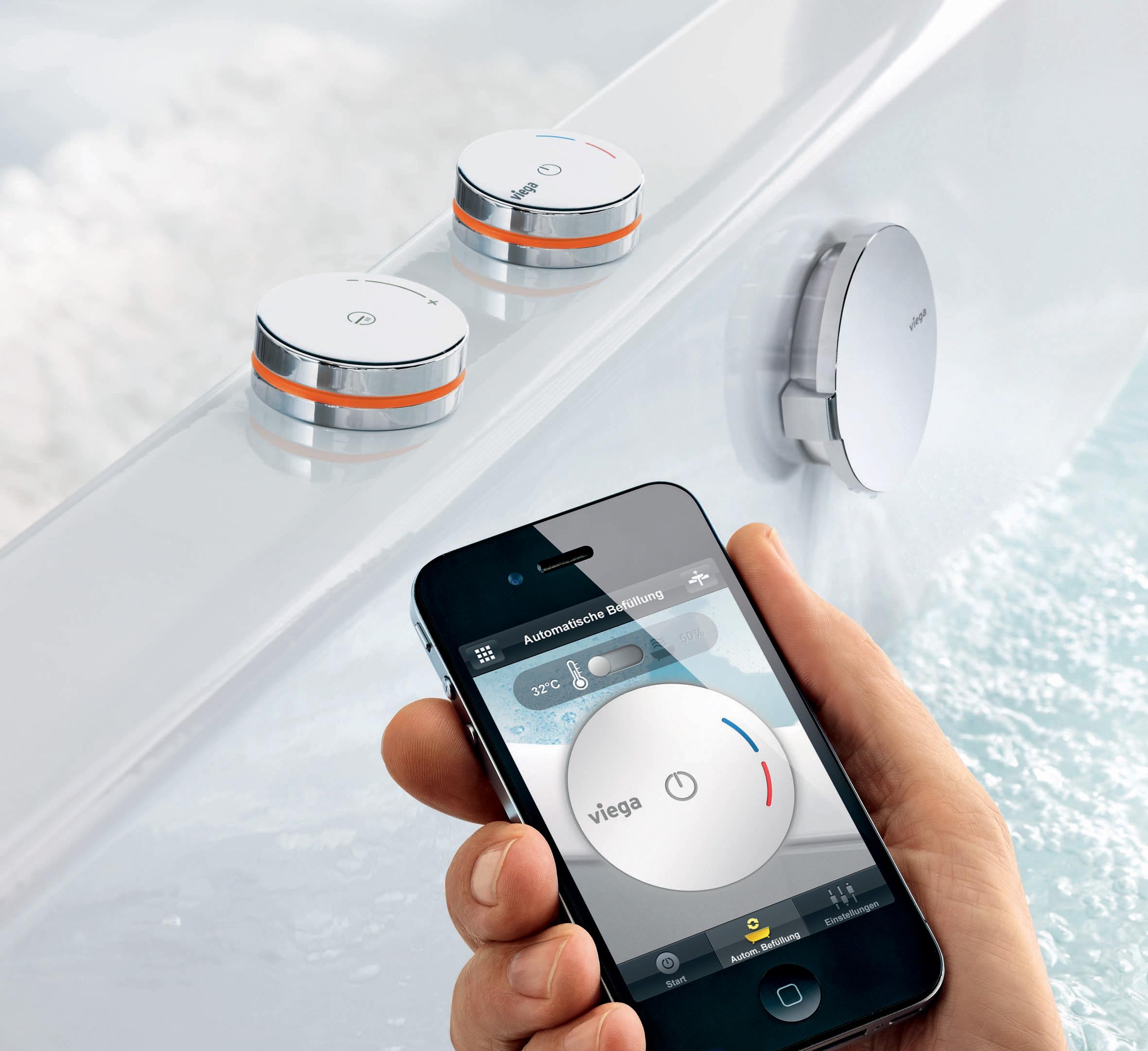 Vul het bad op afstand met de app voor de Viega Multiplex Trio E App