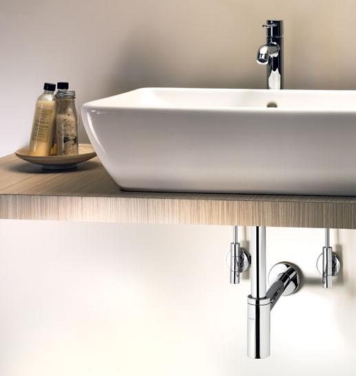 Waskom op minimalistische houten plank met sifon Eleganta van Viega