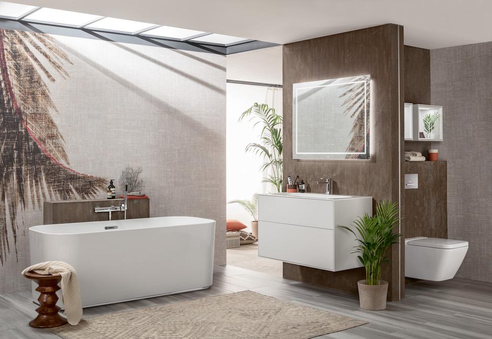 Badkamerinspiratie. De nieuwste badkamercollectie Finion van Villeroy & Boch. nieuwe complete collectie, met elegant keramiek, luxe meubels en een zeer stijlvol verlichtingsconcept, voldoet aan de hoogste eisen van de moderne levensstijl en creëert een uniek gevoel van wellness in de badkamer #badkamer #badkamernieuws #badkamercollectie #badkamerinspiratie #villeroyboch