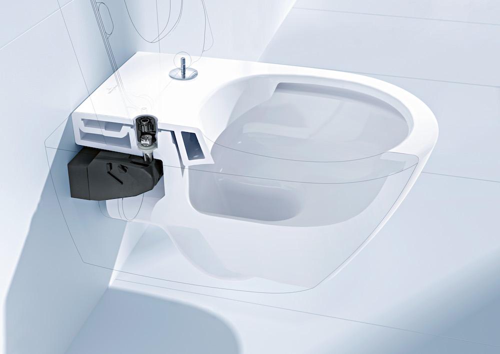 Toilet met de nieuwe generatie toiletbevestigingen: de SupraFix 3.0 van Villeroy & Boch kan door een installateur eenvoudig, veilig en snel aan de muur worden gemonteerd #toilet #badkamer #villeroyboch