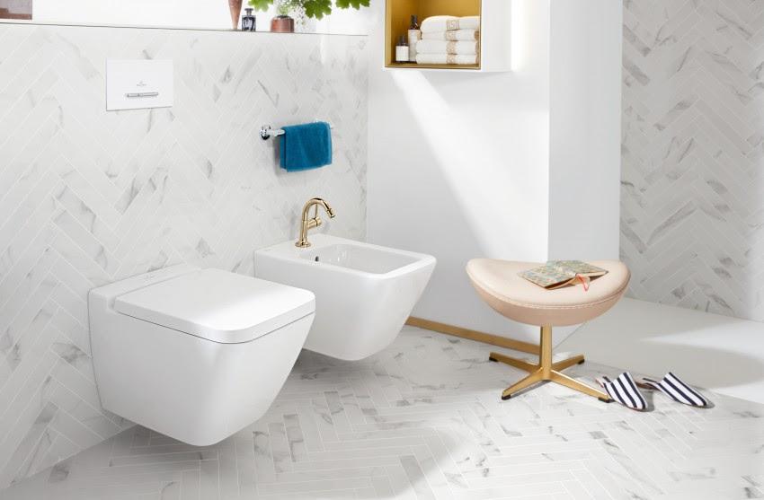 Badkamer inspiratie. Een stijlvolle badkamer met Finion, een complete collectie van Villeroy & Boch #badkamer #toilet