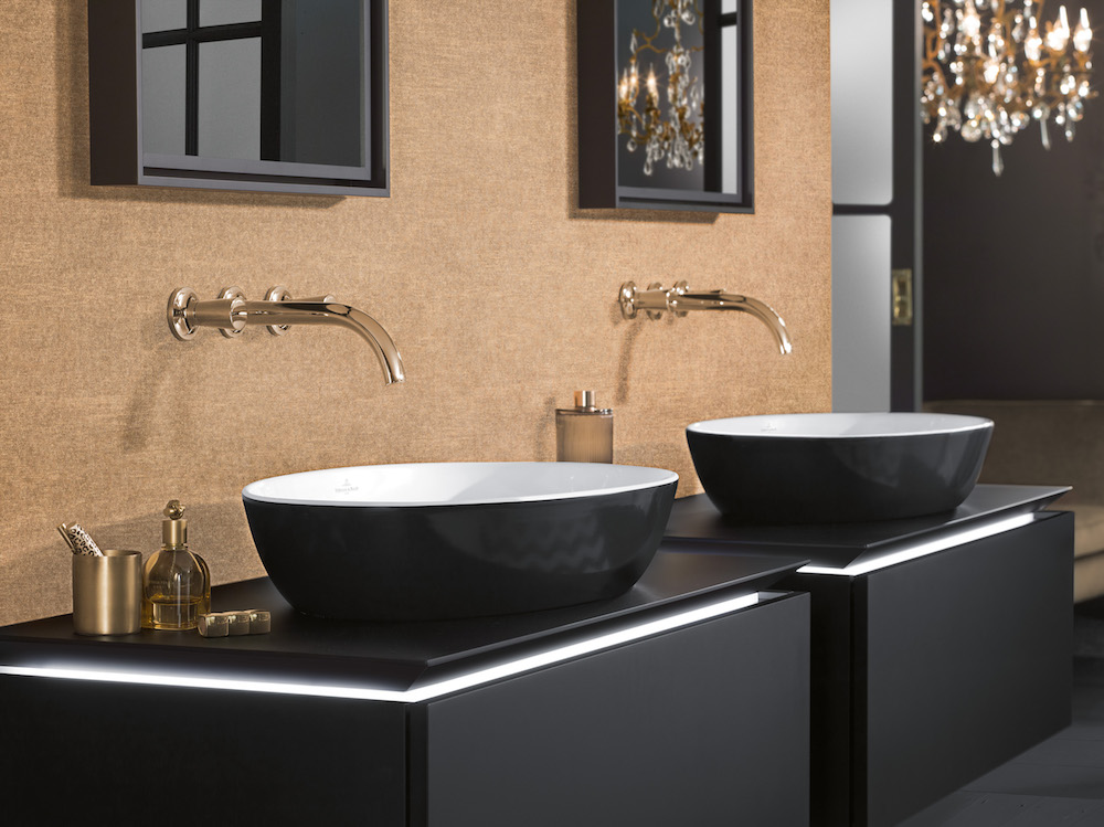 Zwarte waskommen Artis van Villeroy & Boch gemaakt van TitanCeram #design #badkamer #wastafel