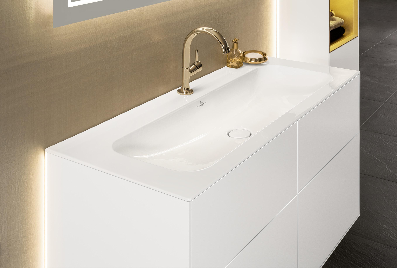 Wastafel uit de nieuwe badkamercollectie Finion van Villeroy & Boch #badkamer #wastafel