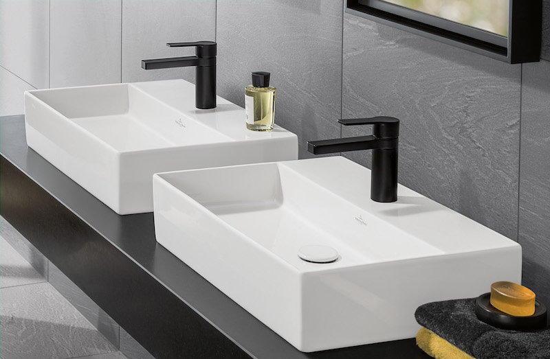 Wastafels Memento in Titam Ceram versie van Villeroy & Boch in de badkamer #badkamer #wastafels #modern
