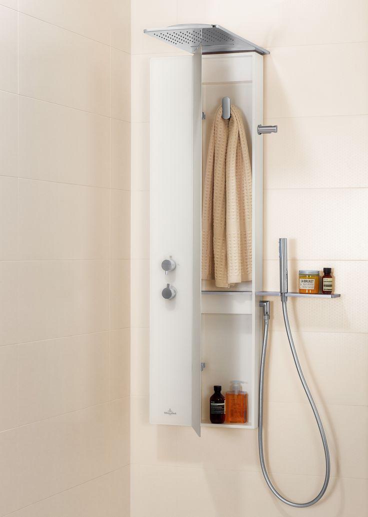 Douchepaneel met opbergruimte zodat je de douche niet uit moet om je af te drogen! Badkamercollectie Vivia van Villeroy & Boch