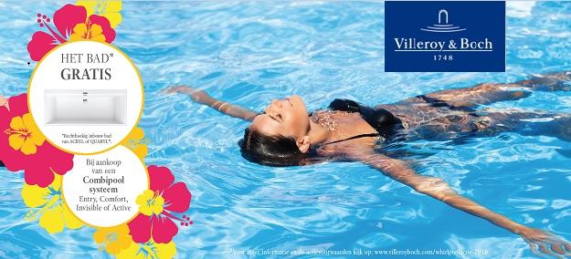 Op zoek naar een whirlpool? Bij aankoop bij een combipool systeem van Villeroy & Boch ontvang je het bad nu tijdelijk gratis!
