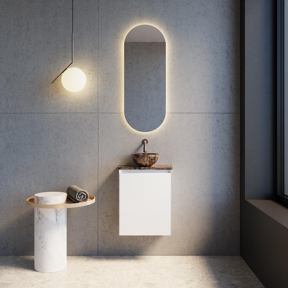 x2o Balmani mitra toiletmeubel met facetta waskom dark emperador #toiletmeubel #toilet #inspiratie #x2o #waskom