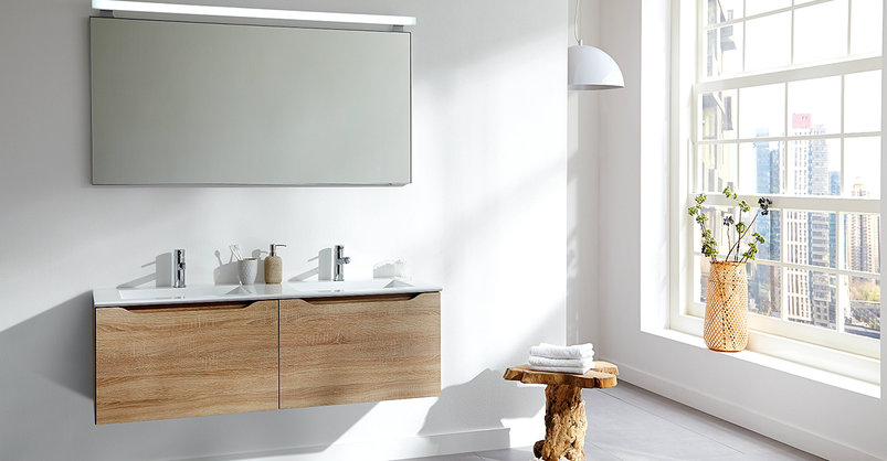 Primabad houten badkamermeubel Flash #badkamertrends #hout #primabad #badenplus #badkamer