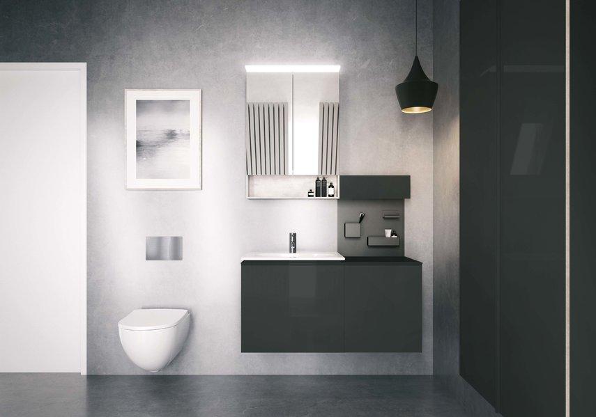 Opberggemak met het nieuwe badkamerconcept Acanto van Sphinx. Slimme en stijlvolle badkamermeubels #badkamertrends #sphinx #badkamer