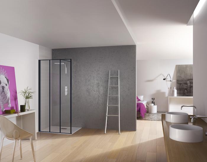 Creëer een industriële look met de Kinespace  Solo Factory douchewand van douchefabrikant Kinedo®. Deze stijlvolle Solo Factory douchewand is de nieuwste aanwinst in het Kinedo® assortiment op het gebied van inloopdouches. De wand is 2 meter hoog en verkrijgbaar in diverse breedteafmetingen. #kinedo #inloopdouche #industrieel #badkamerinspiratie #badkamer