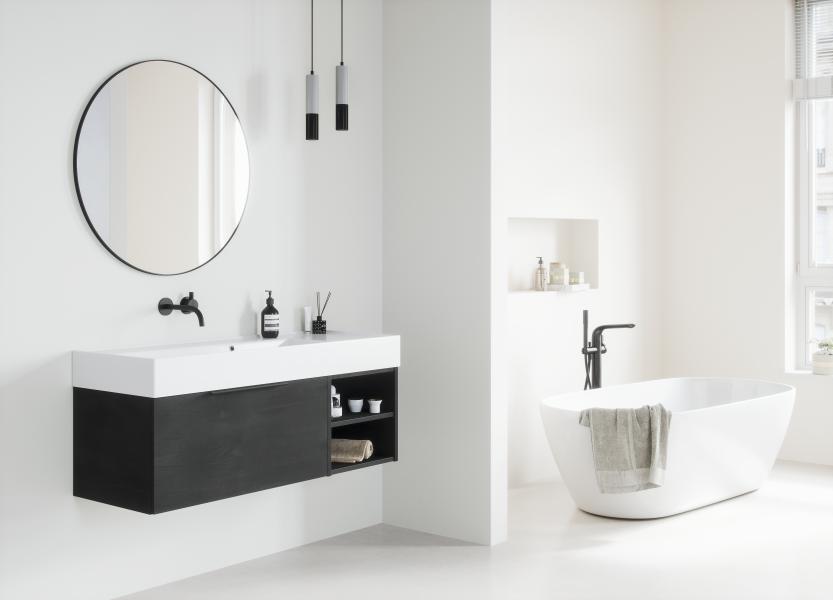 Thebalux badkamermeubel met wastafel Twenty van keramiek en spiegel Giro #thebalux #badkamermeubels #wastafel #badkamerspiegel