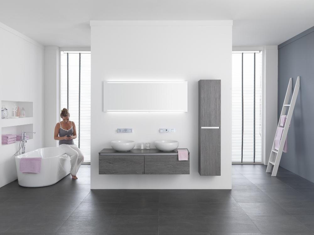 Badkamer Onderkast : ... heeft de onderkast 2 laden naast elkaar ...