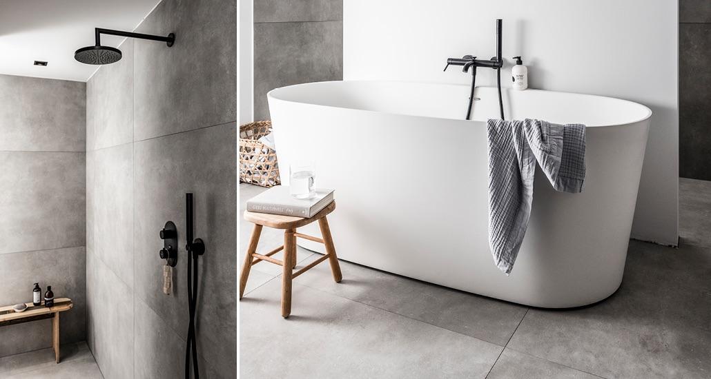 Badkamertegels: vtwonen tegels mold XL concrete by Douglas & Jones #badkamer #badkamerinspiratie #vtwonen