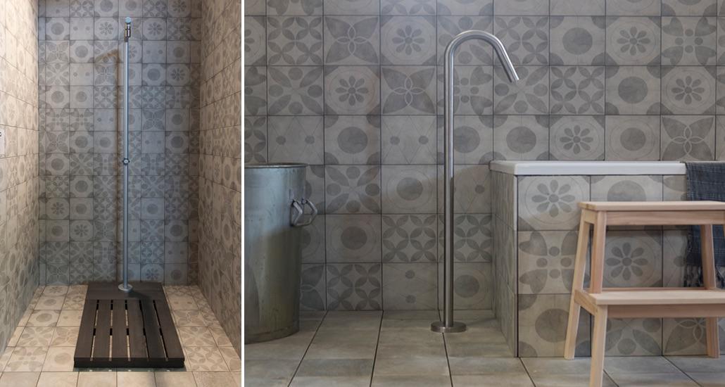 Badkamertegels. vtwonen tegels by Douglas & Jones tegels Neo uni en dessin #badkamer #badkamervloer #badkamertegels