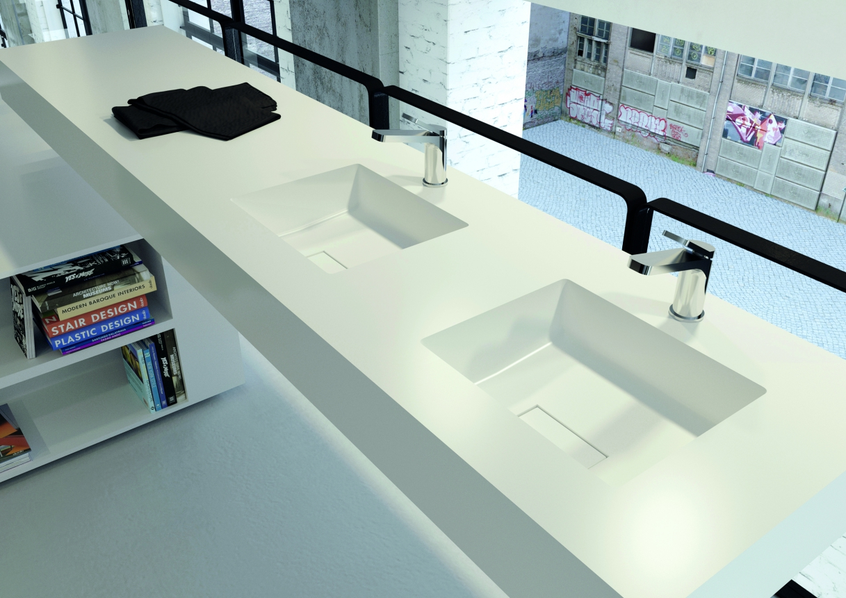 Wastafelblad van Solid Surface met vierkante wasbakken - design Puurwit via Burgmans Sanitair #badkamer