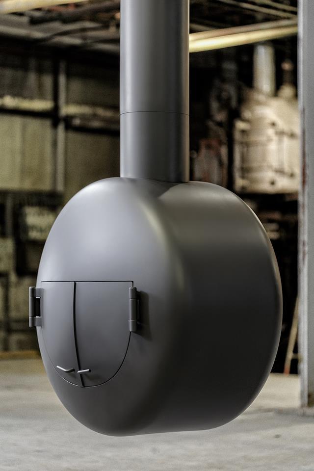 Stoere design haard uit de serie B.Black by Boley - ronde hanghaard