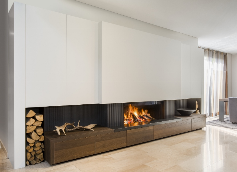 Openhaard in maatwerk meubel - Boley openhaarden