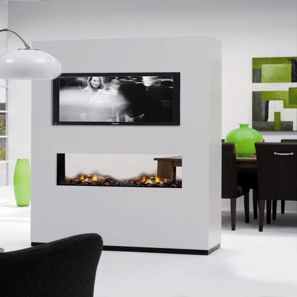 Doorkijk Open Haarden  moderne gashaarden luxe wooninspiratie hoog sign  Grijze bank grijze muur