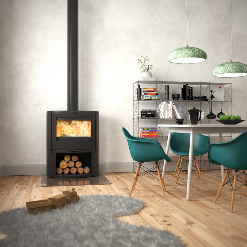 Gietijzeren houtkachel met gebogen glasdeur voor panoramisch vlammenspel - BOW van Dovre