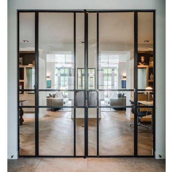Interieur aan de Vecht met tunnelhaard Sky T van Element4 - via Jos Harm #deuren #interieur