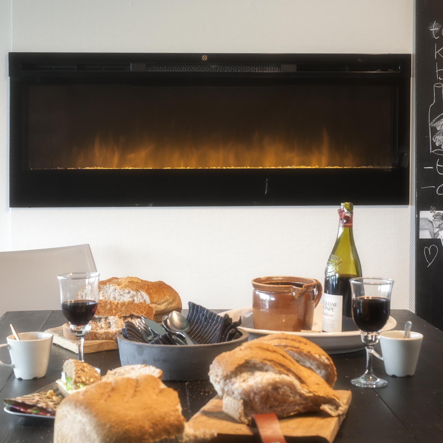 Inbouwhaard met realistisch vuurbeeld door LED verlichting en optiflame - Faber Synergy