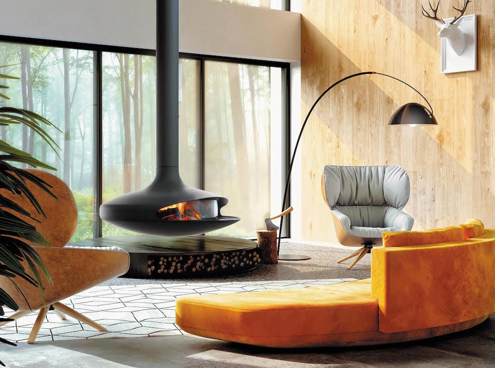 Gyrofocus glas. De iconische hanghaard van Focus is gemoderniseerd en is klaar voor de toekomst #hanghaard #gyrofocus #focus #designhaard #houthaard #architectuur #design #interieur #interieurdesign