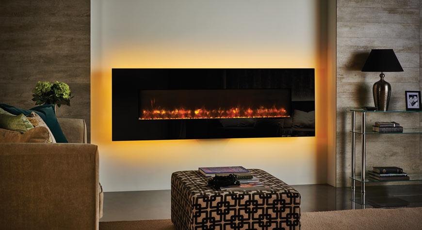 Elektrische haard Radiance met ambilight achter toestel met 12 verschillende kleuren en twee verschillende kleuren vuurbeeld - Gazco