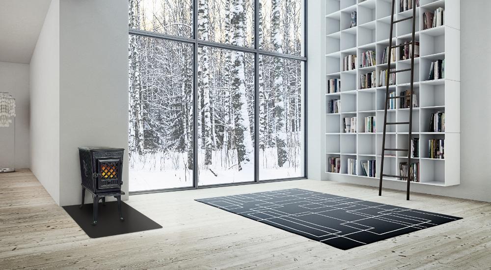 Scandinavisch interieur met gietijzeren houtkachel Jotul F602