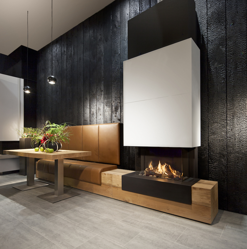 Haarden-trends voor deze winter - gashaard Kalfire G70-44s Designhaard natuurlijke materialen#gashaard #kalfire #interieur #haard