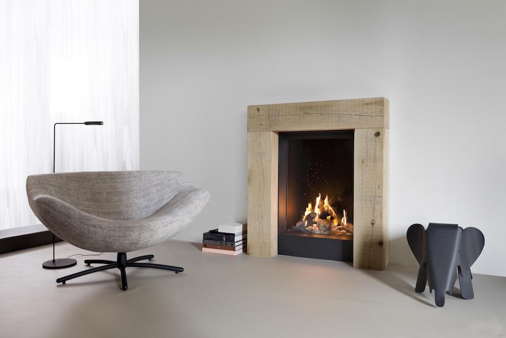Haarden-trends voor deze winter - gashaard Kalfire GP60-79f Designhaard met natuurlijk vlammenspel #gashaard #kalfire #interieur #haard