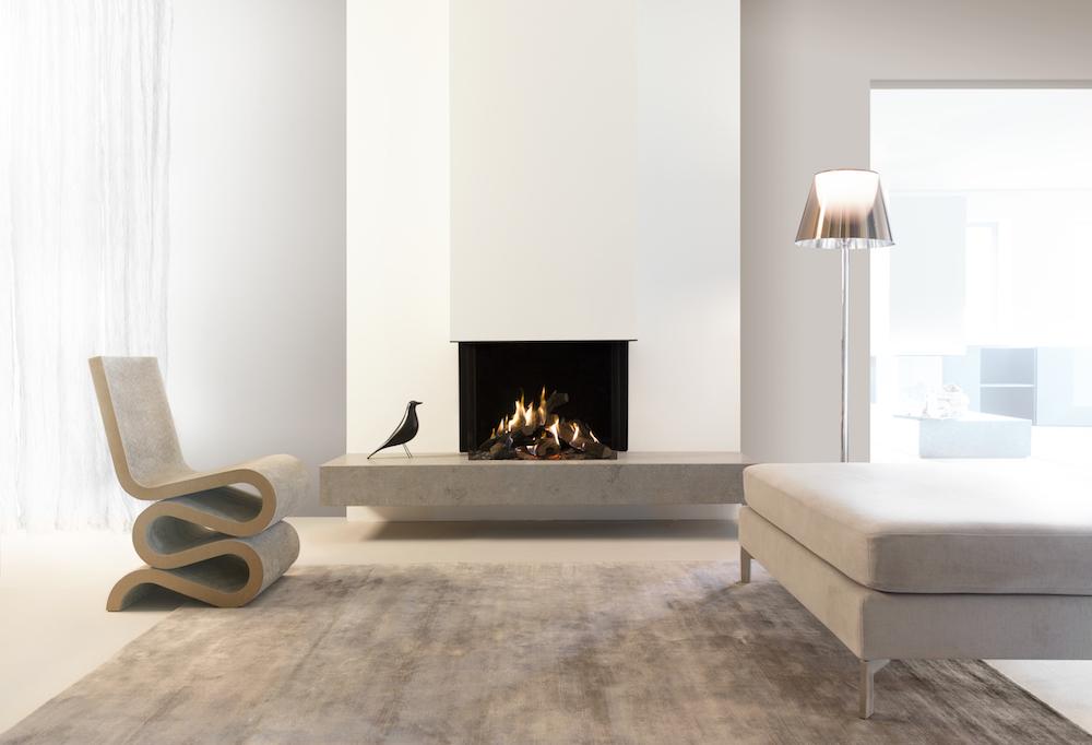 Haarden-trends voor deze winter - gashaard Kalfire GP70-55s Designhaard #gashaard #kalfire #interieur #haard