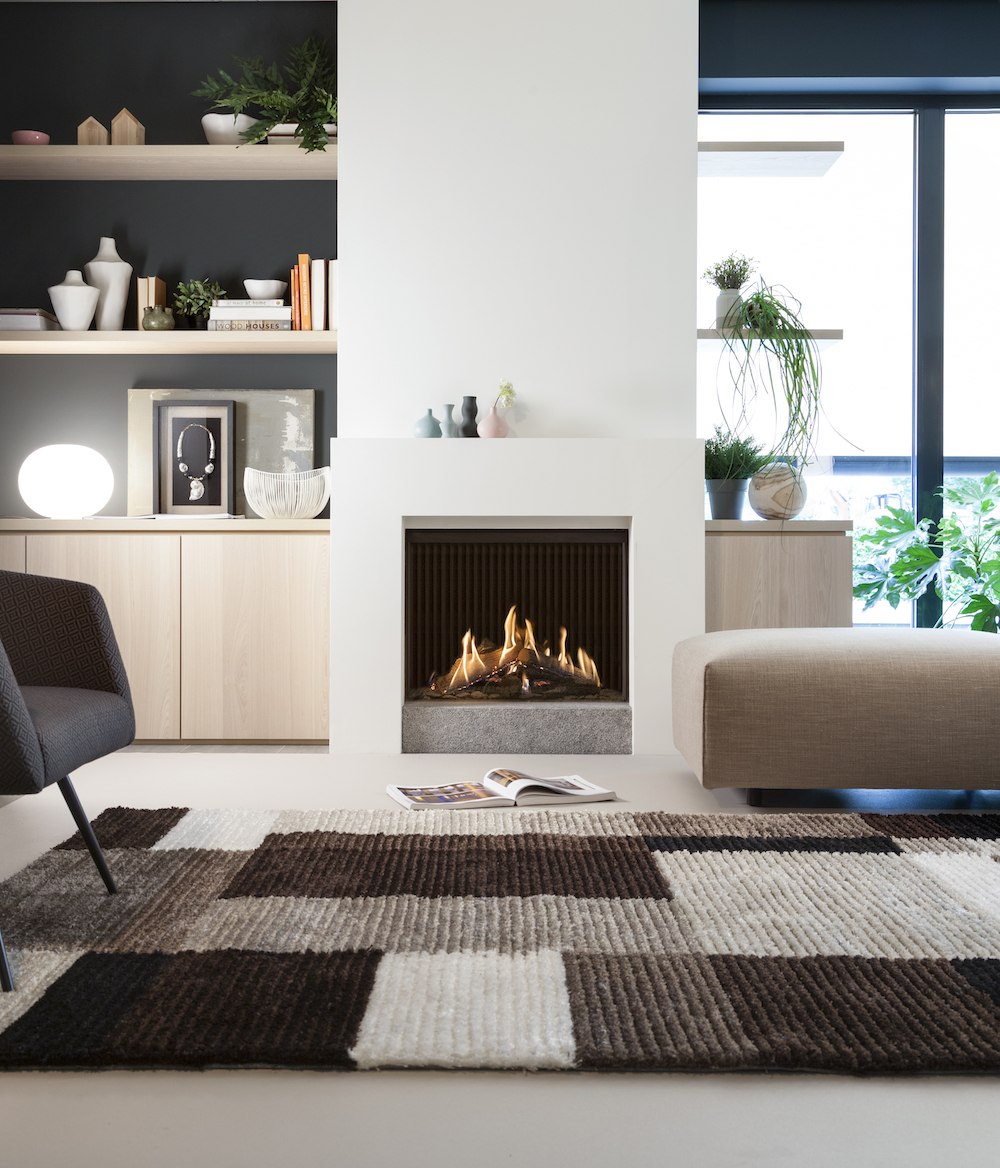 Haarden-trends voor deze winter - gashaard Kalfire GP75-59f Designhaard in interieur #gashaard #kalfire #interieur #haard