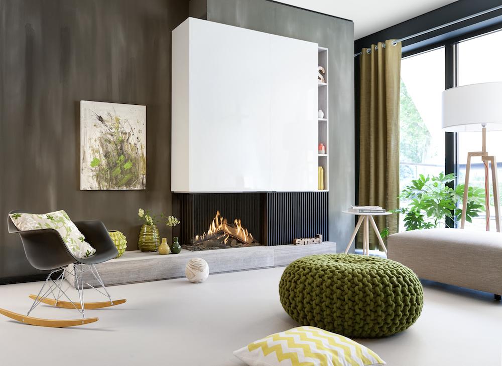 Haarden-trends voor deze winter - gashaard Kalfire GP80-55C Tweezijdige Designhaard op houten plateau #gashaard #kalfire #interieur #haard