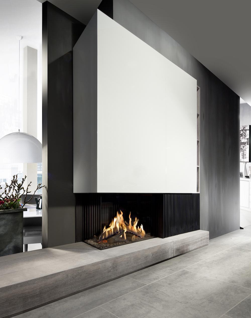Haarden-trends voor deze winter - gashaard Kalfire GP80-55c Designhaard #gashaard #kalfire #interieur #haard