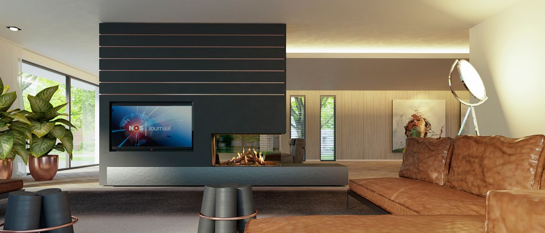 Nieuwe gashaard voor designliefhebbers. Kalfire GP115-55R als roomdivider met geintegreerde televisie