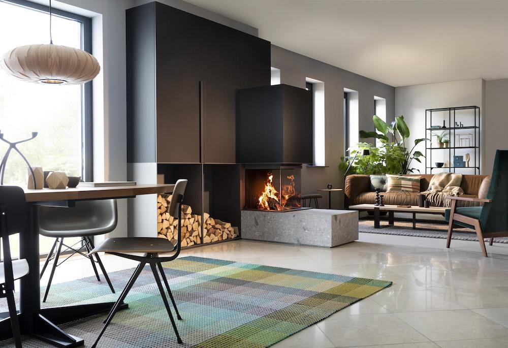 Kalfire driezijdige gesloten houthaard als roomdivider #haard #houthaard #interieur #interieurinspiratie #kalfire