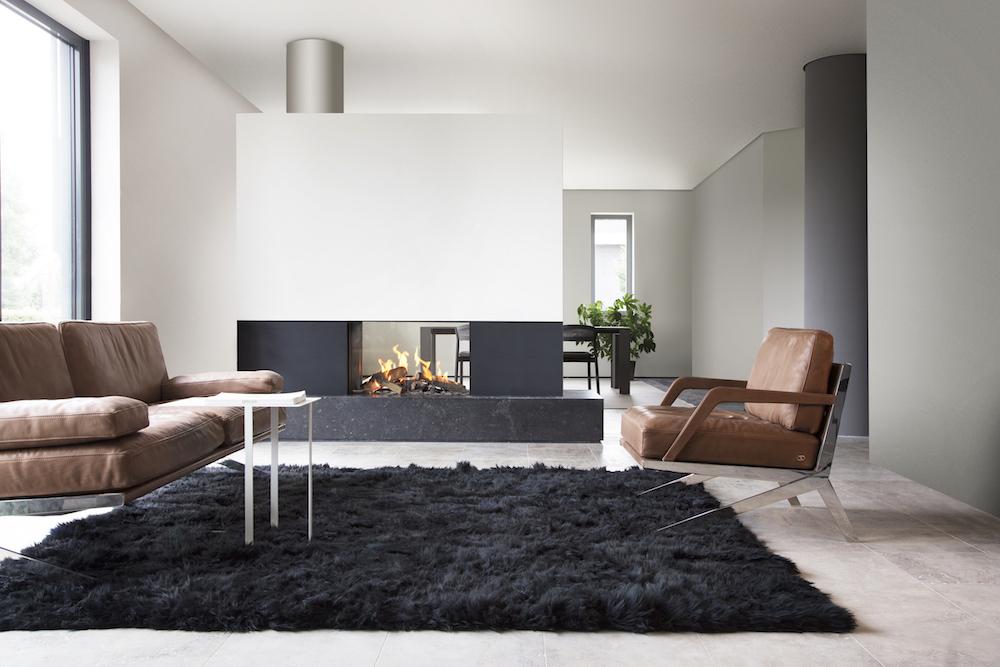 Haarden-trends voor deze winter - gashaard Kalfire GP80-54t Designhaard als divider in de kamer #gashaard #kalfire #interieur #haard