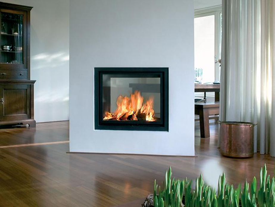 Gesloten houthaard als roomdivider - kal-fire heat 71-5
