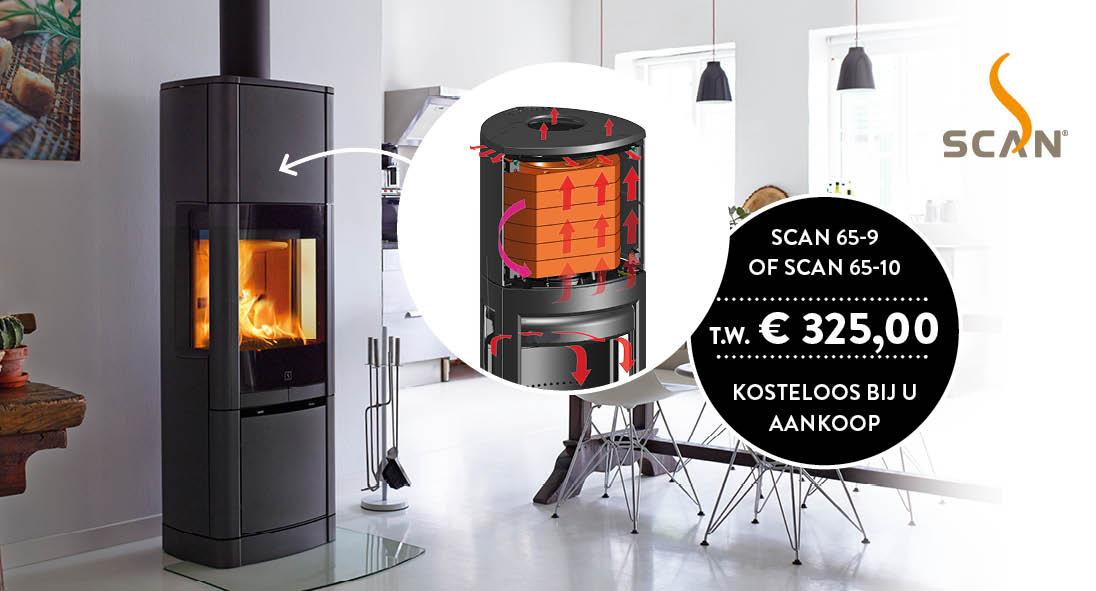 Deense houtkachel Scan 65-9 met Heat Storage System in de hoge top. Actie: Heat Storage System twv € 325,- kosteloos bij aankoop