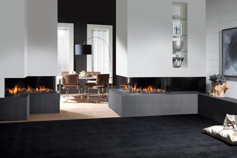 Interieur met Faber gashaard geïnstalleerd door erkend installateur sfeerverwarmingsgilde
