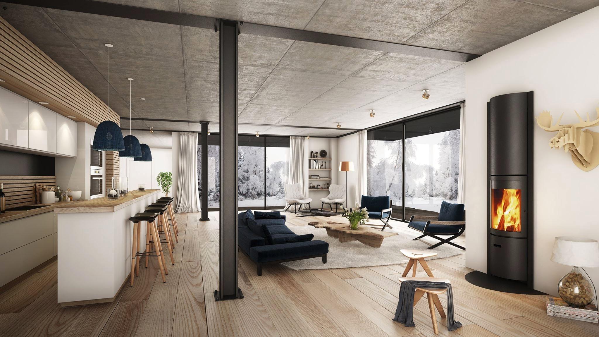 Houtkachel Stuv 30-in met Scandinavisch Interieur via home-designing.com