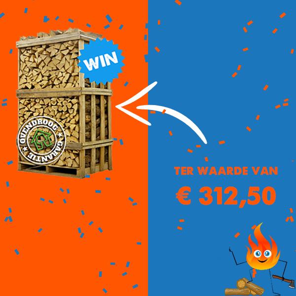 Wijn een pallet hout van de haardhoutcompany met uw-haard.nl en zit er deze winter lekker warm bij! #winnen #winactie #haardhout