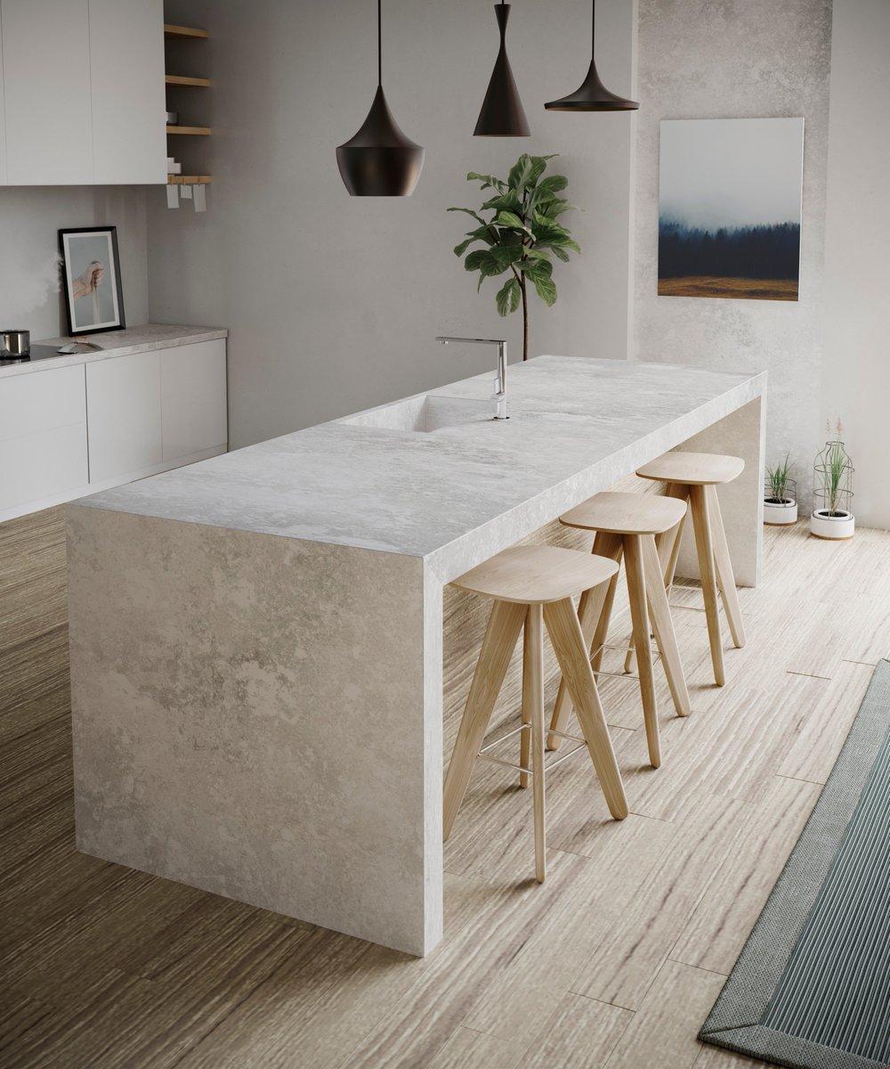Keukeneiland met werkblad Silestone Silver Lake van Consentino via Arte #werkblad #keuken #keukeninspiratie #cosentino #arte